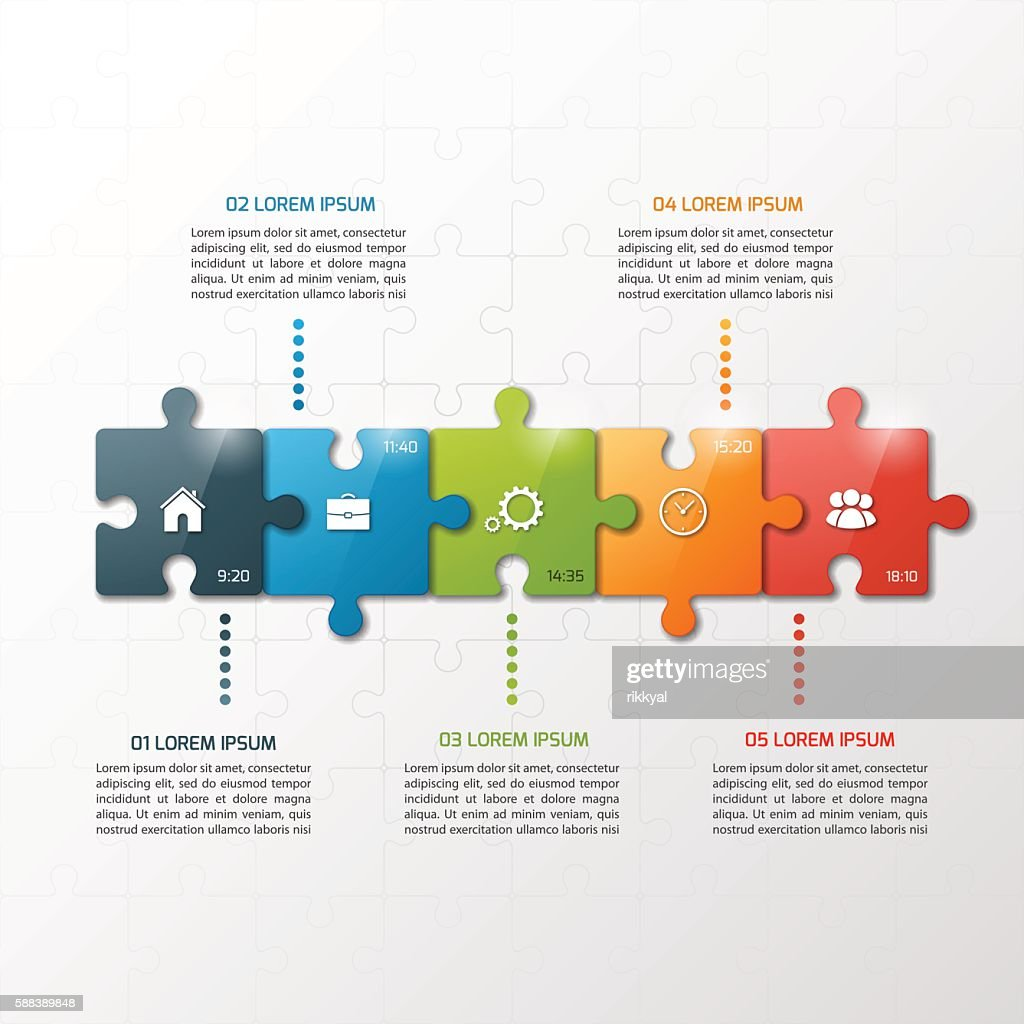 Vector 5 steps puzzle style timeline infographic template.