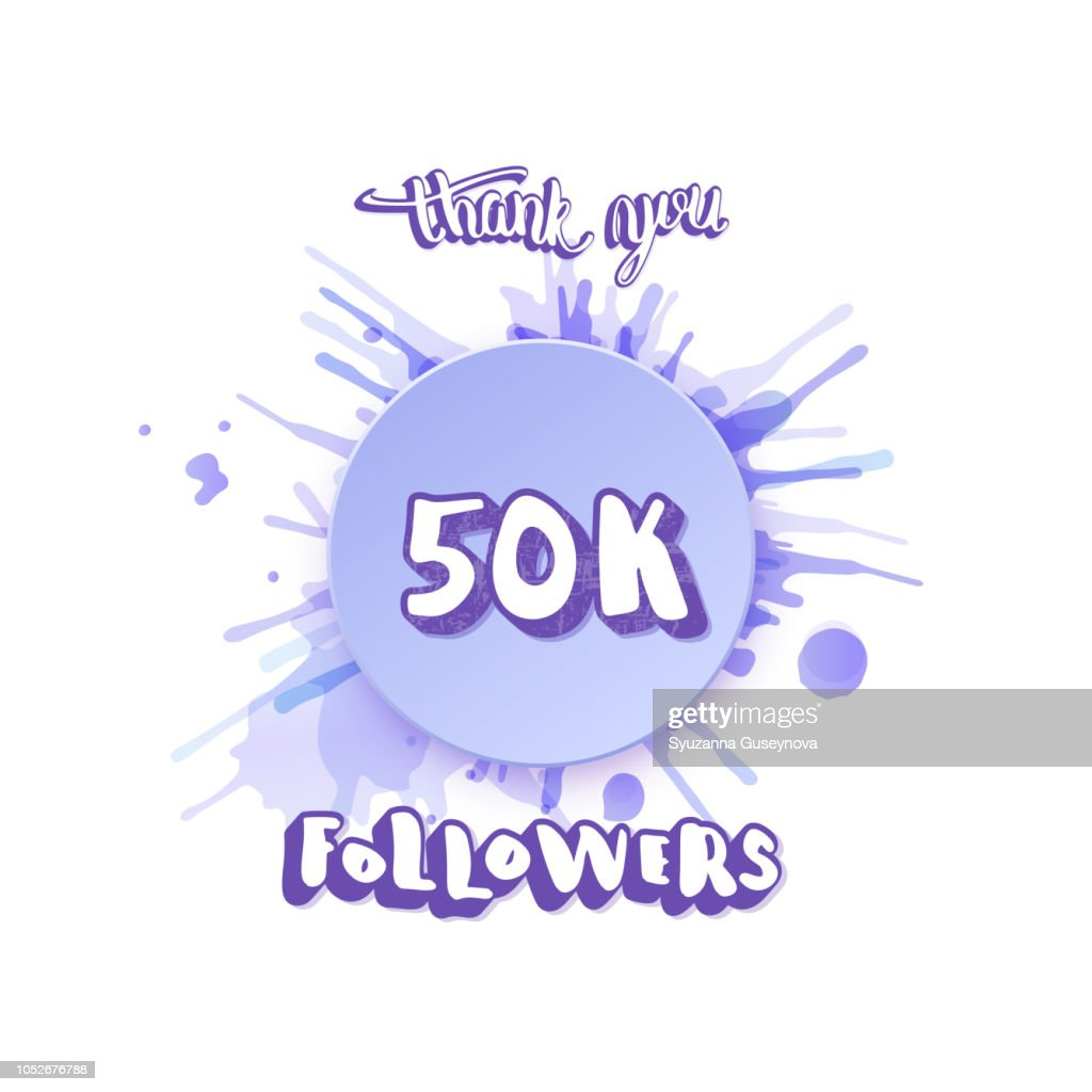 Vector 50k followers thank you social media template.