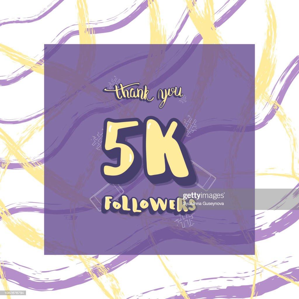 Vector 5k followers thank you social media template.