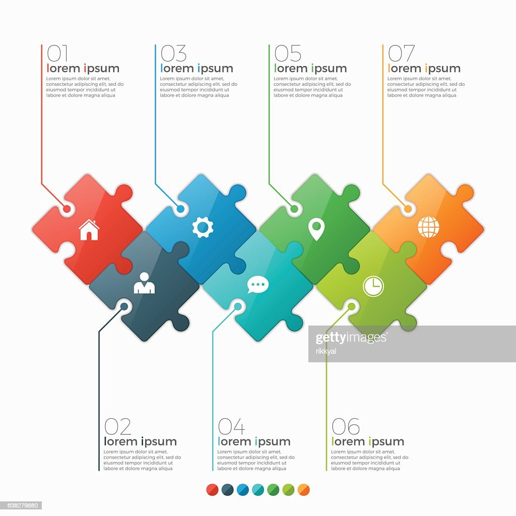 Vector 7 options infographic template with puzzle sections