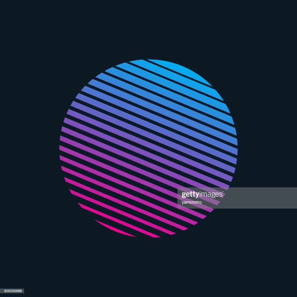 Vector 80s Retro Style Striped Shape