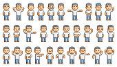 Vector 8-bit pixel art people set
