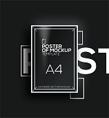 Vector A4 mockup isolated on black background. poster template of a paper sheet