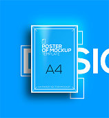 Vector A4 mockup isolated on blue background. poster template of a paper sheet