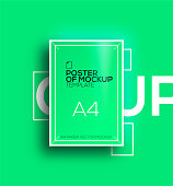 Vector A4 mockup isolated on green background. poster template of a paper sheet