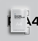 Vector A4 mockup isolated on grey background. poster template of a paper sheet