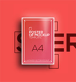 Vector A4 mockup isolated on red background. poster template of a paper sheet