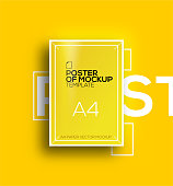 Vector A4 mockup isolated on yellow background. poster template of a paper sheet