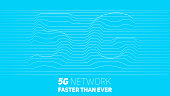 Vector abstract 5G new wireless internet connection background. Global network high speed network. Abstract 5G symbol with volumetric embossed curly lines on a blue background.