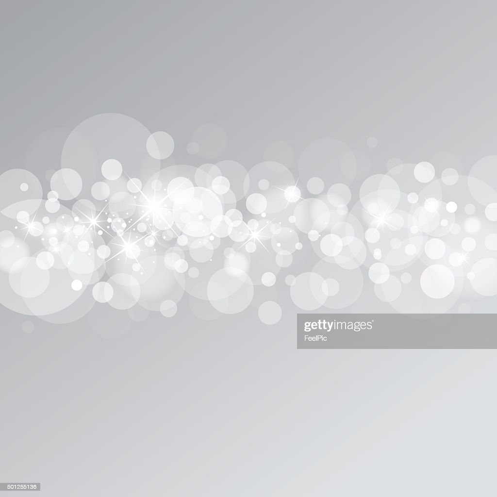 Vector abstract background of bokeh on silver background
