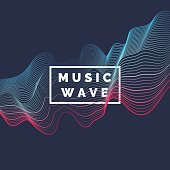 Vector abstract background with a colored dynamic waves, line and particles