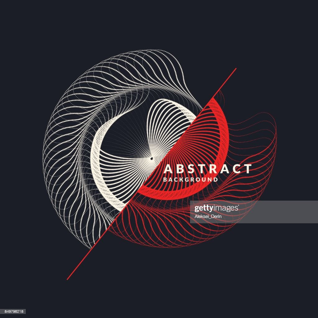 Vector abstract background with dynamic waves, line and particles