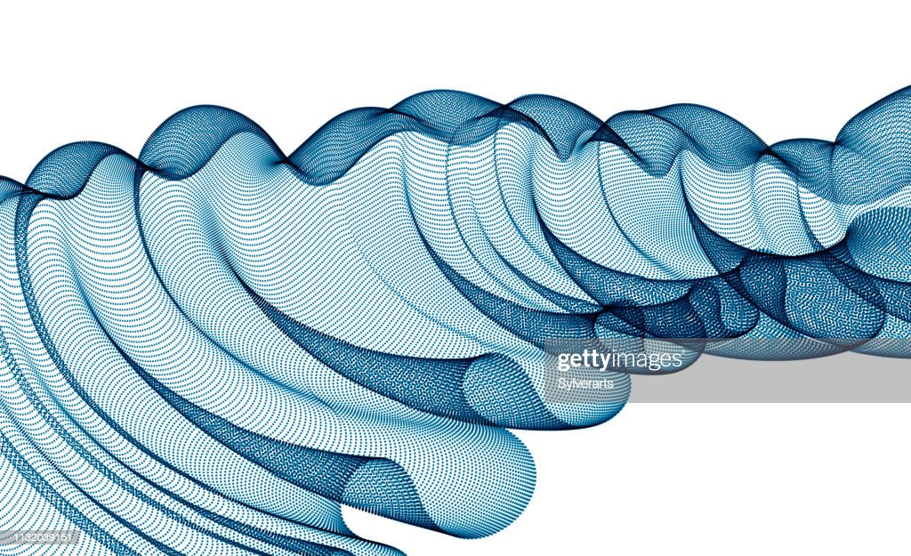 Vector abstract background with wave of flowing particles, smooth curve shape lines, transparent tulle textile on wind. 3d shape dots magic blended mesh.ptflw382