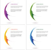 Vector abstract banner background set in green, purple, violet,