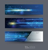 Vector Abstract banners set with image of speed movement pattern
