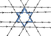 Vector abstract barbed wire and star of David