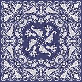Vector abstract beige mermaid print on a dark indigo blue background. Paisley pattern, hand drawn fish, fantasy sea animals, ornate cute octopus. Bandana design, scarf, kerchief ornament, tee shirt print, adults coloring book page