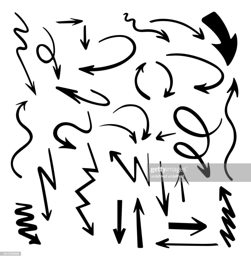 Vector abstract black hand drawn arrows set.Illustration of Grunge Sketch Handmade Vector Arrow Set.Arrow grunge vector.