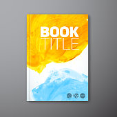 Vector abstract book watercolor cover template