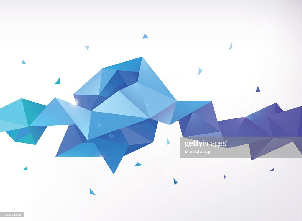 Vector abstract colorful blue faceted crystal banner