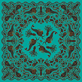 Vector abstract colorful mermaid print on a turquoise green background. Paisley pattern, hand drawn fish, fantasy sea animals, ornate cute octopus. Bandana design, scarf, kerchief ornament, tee shirt print