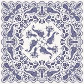 Vector abstract dark indigo blue  mermaid print on a beige background. Paisley pattern, hand drawn fish, fantasy sea animals, ornate cute octopus. Bandana design, scarf, kerchief ornament, tee shirt print