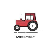 Vector abstract design template in linear style - red tractor.