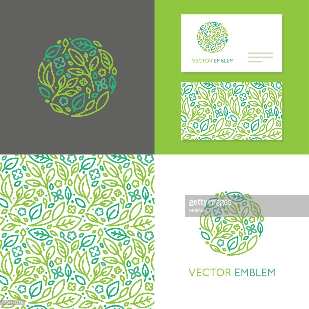 Vector abstract emblem for organic shop