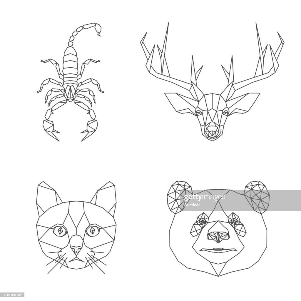 Vector abstract geometric animal illustration set.