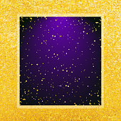 Vector abstract glamour background. Violet frame on shiny golden backdrop.