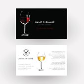 Vector abstract glass of red wine, concept of vinery and wine steward; Business card