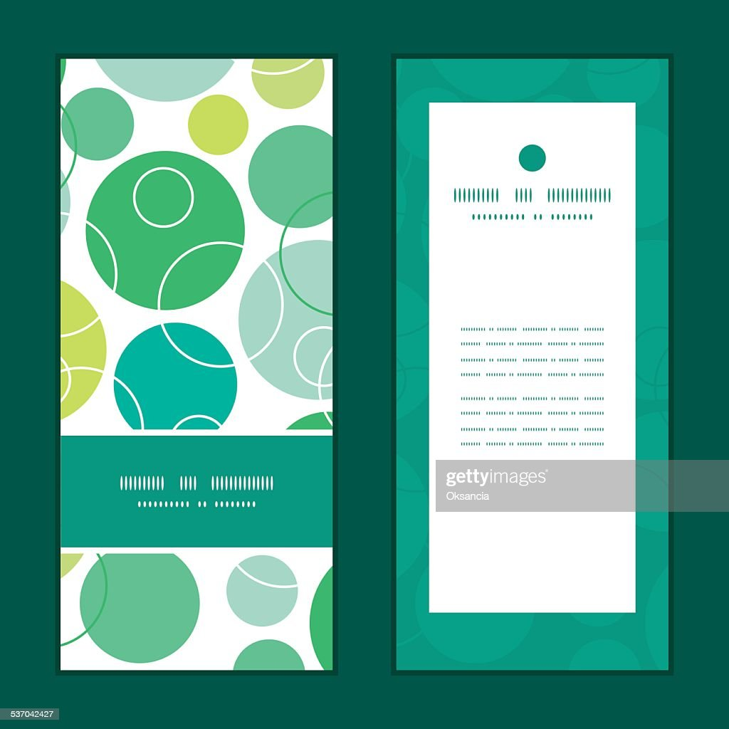 Vector abstract green circles vertical frame pattern invitation greeting cards