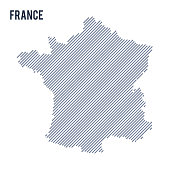 Vector abstract hatched map of France with oblique lines isolated on a white background.