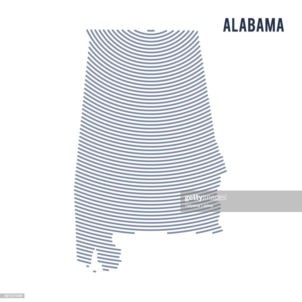 Vector abstract hatched map of of State of Alabama with curve lines isolated on a white background.