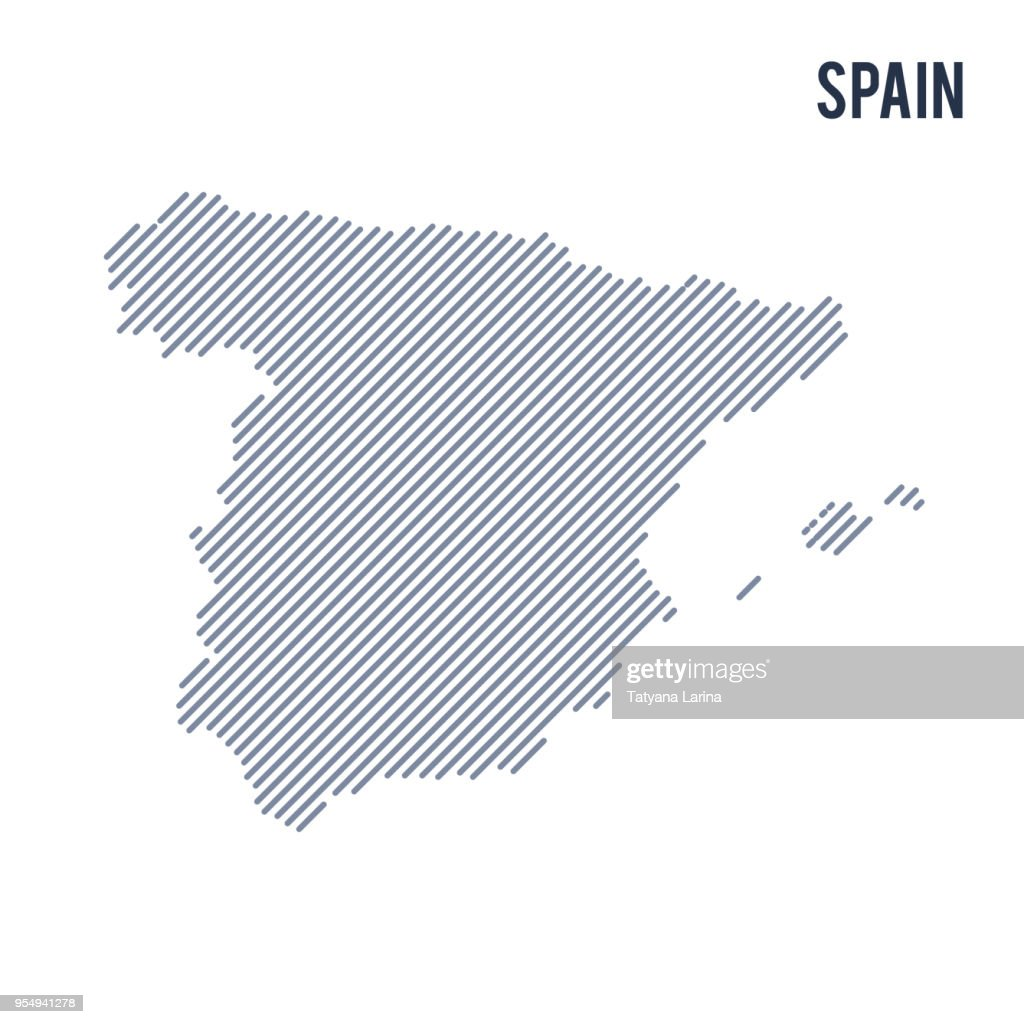 Vector abstract hatched map of Spain with oblique lines isolated on a white background.