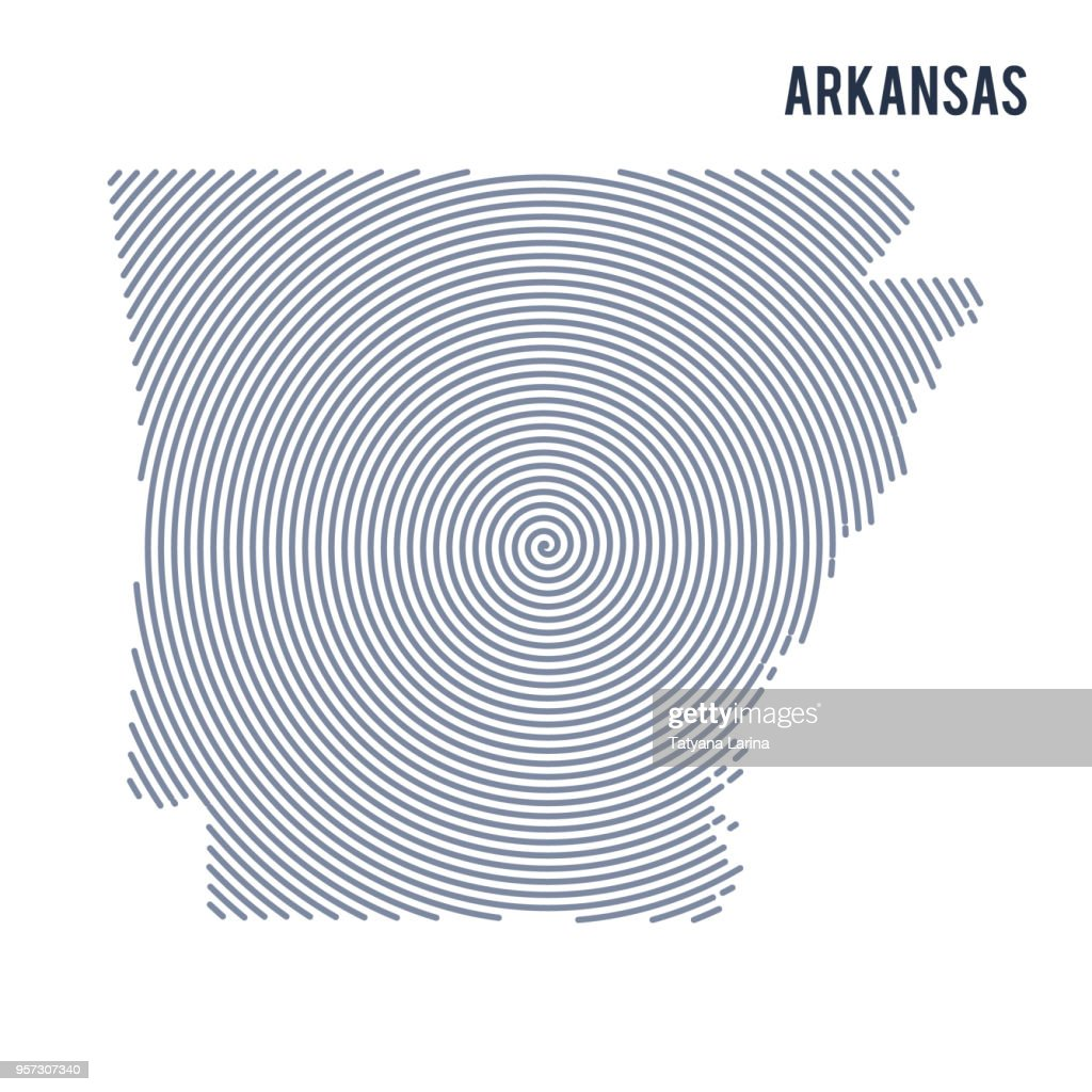 Vector abstract hatched map of State of Arkansas with spiral lines isolated on a white background.