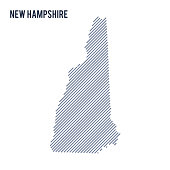 Vector abstract hatched map of State of New Hampshire with oblique lines isolated on a white background.