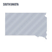 Vector abstract hatched map of State of South Dakota with oblique lines isolated on a white background.