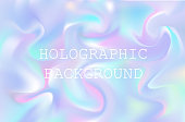 Vector abstract holographic background 80s - 90s, trendy colorful texture in pastel , neon color design.