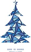 Vector abstract ice chrystals Christmas tree silhouette pattern frame card
