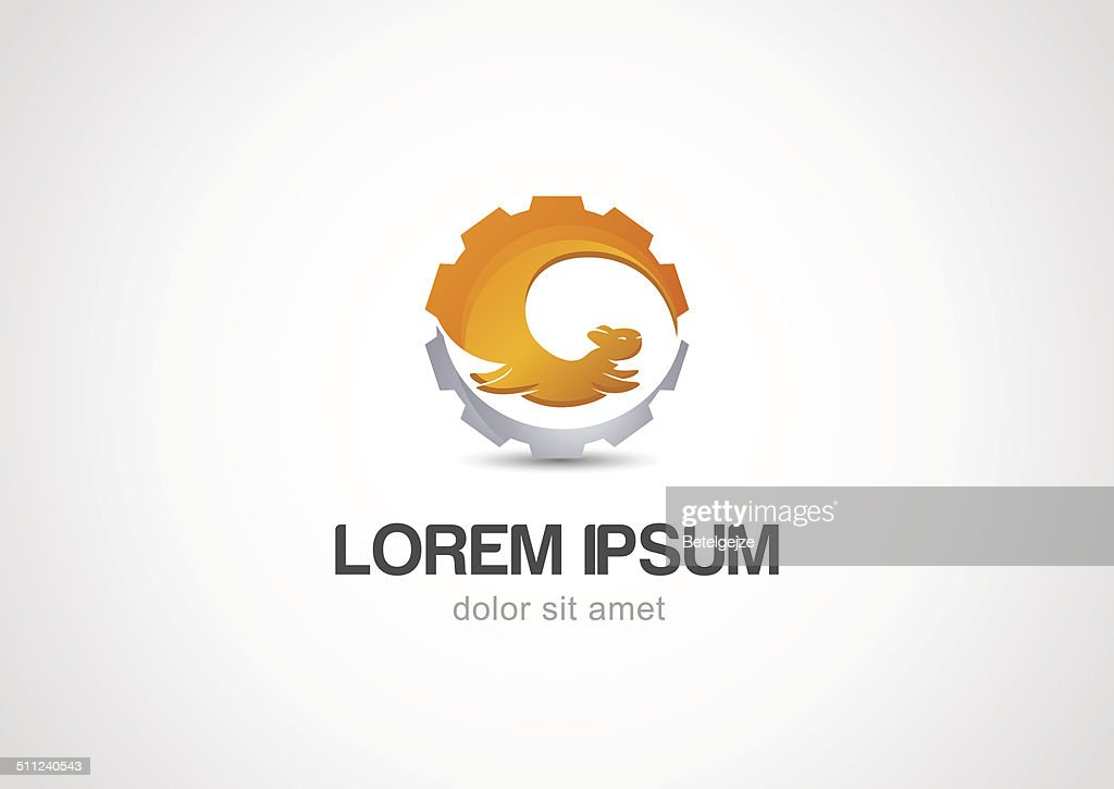Vector Abstract illustration logo of squirrel and gear