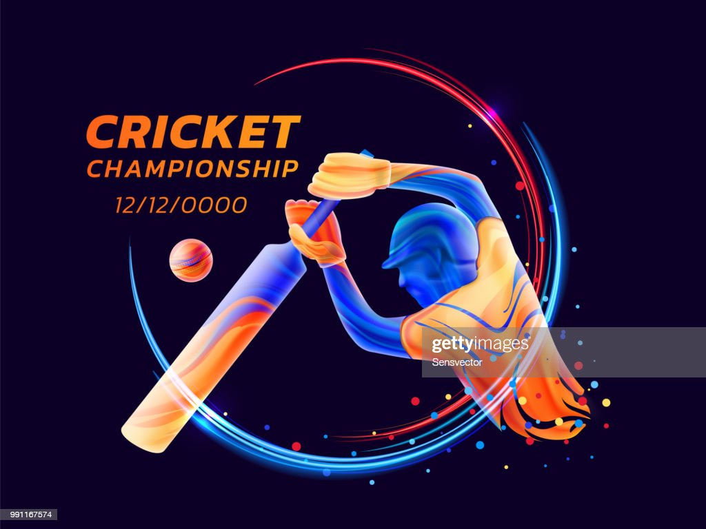 Vector abstract illustration of batsman playing cricket from colored liquid splashes and brush strokes with neon lines and colored dots. Championship and competition sports. 3d player silhouette