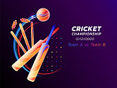 Vector abstract illustration of cricket sport from colored liquid splashes and brush strokes with neon lines and colored dots. Championship and competition concept. Sport equipment