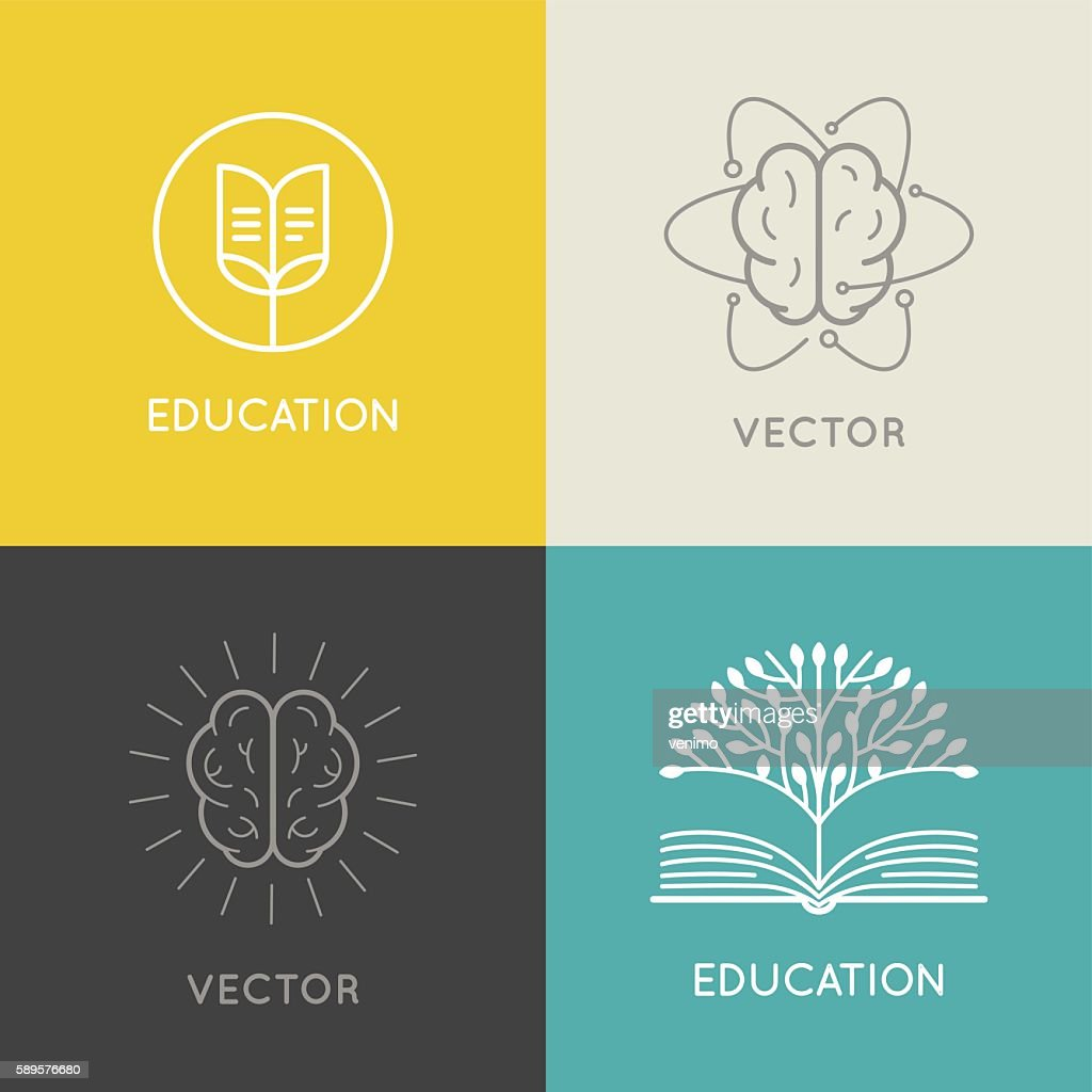 Vector abstract logo design template - online education and lear