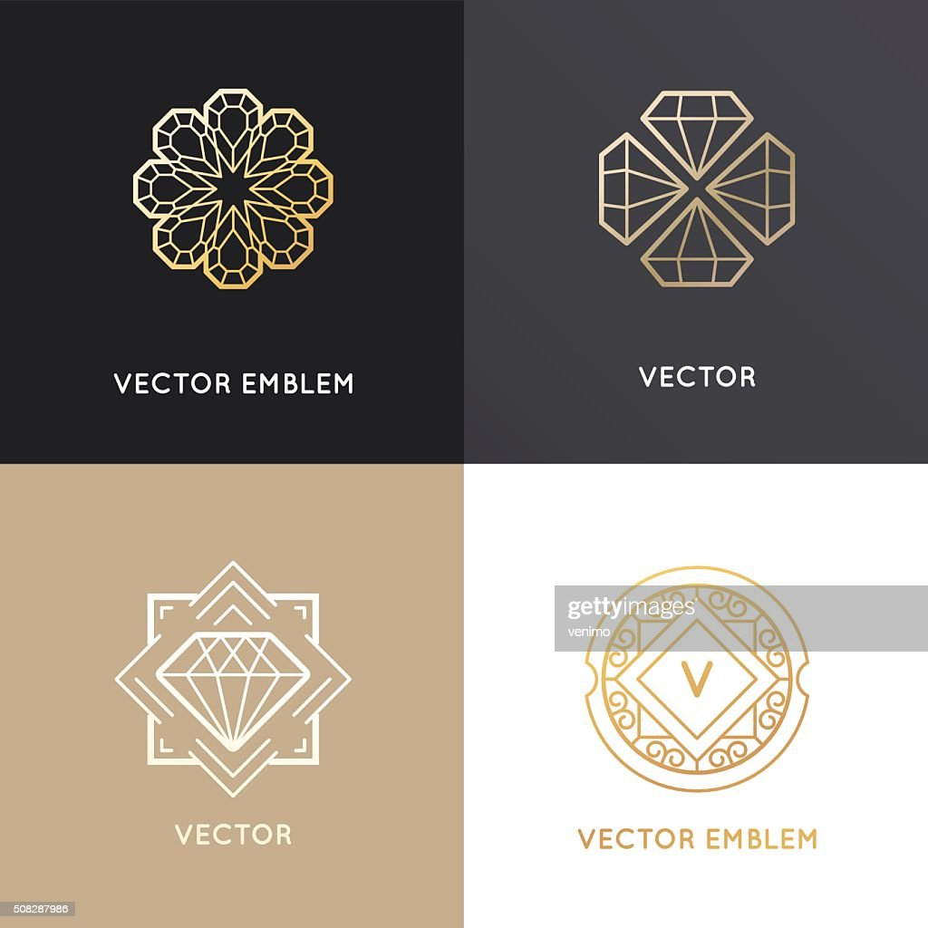 Vector abstract logo design templates in golden colors