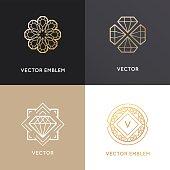Vector abstract logo design templates in golden colors