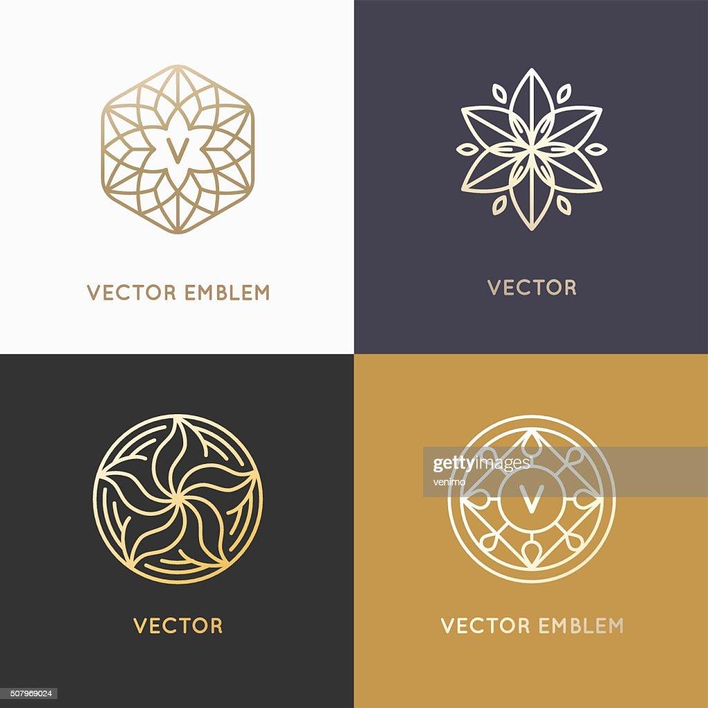 Vector abstract monograms and logo design templates