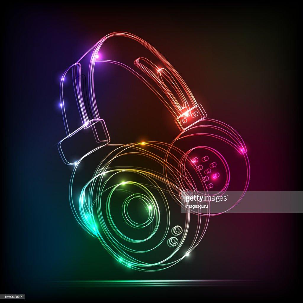 Vector abstract neon Headphones,contains transparencies