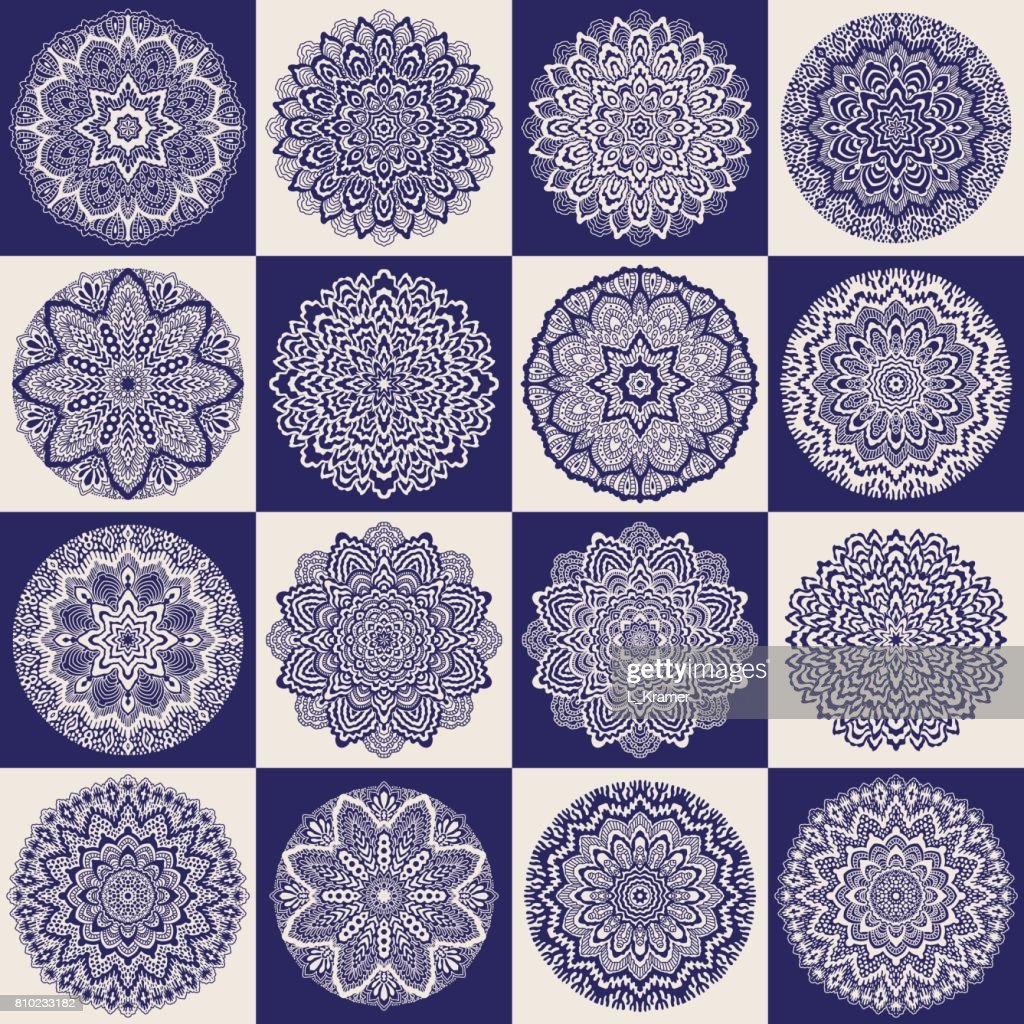 Vector abstract patchwork seamless pattern from dark blue and beige ethnic ornaments. Wallpaper background. Hand drawn mandala round ornament set, batik, fantasy tracery, textile print, wrapping paper