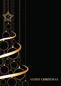 Vector Abstract poster Golden Christmas Tree on black background